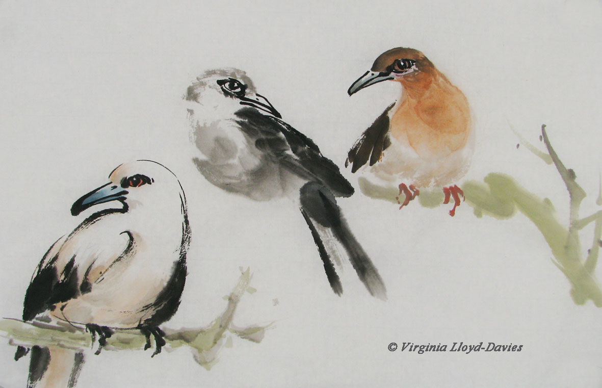 Chinese brush painting of 3 birds