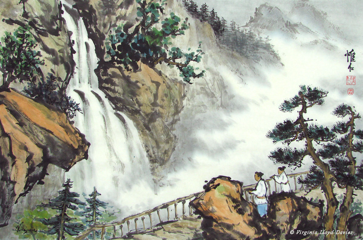 Completed Chinese Brush Painting of Waterfall & Observers