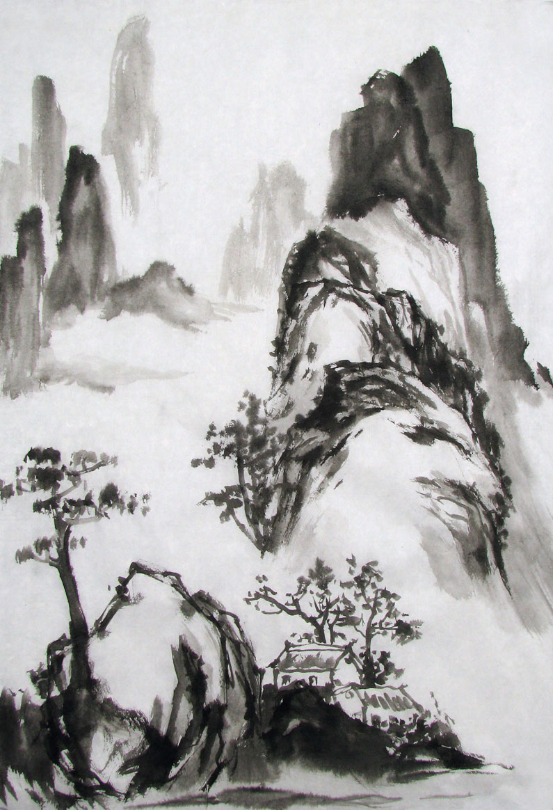 Black ink sketch of mountains and housesPicture