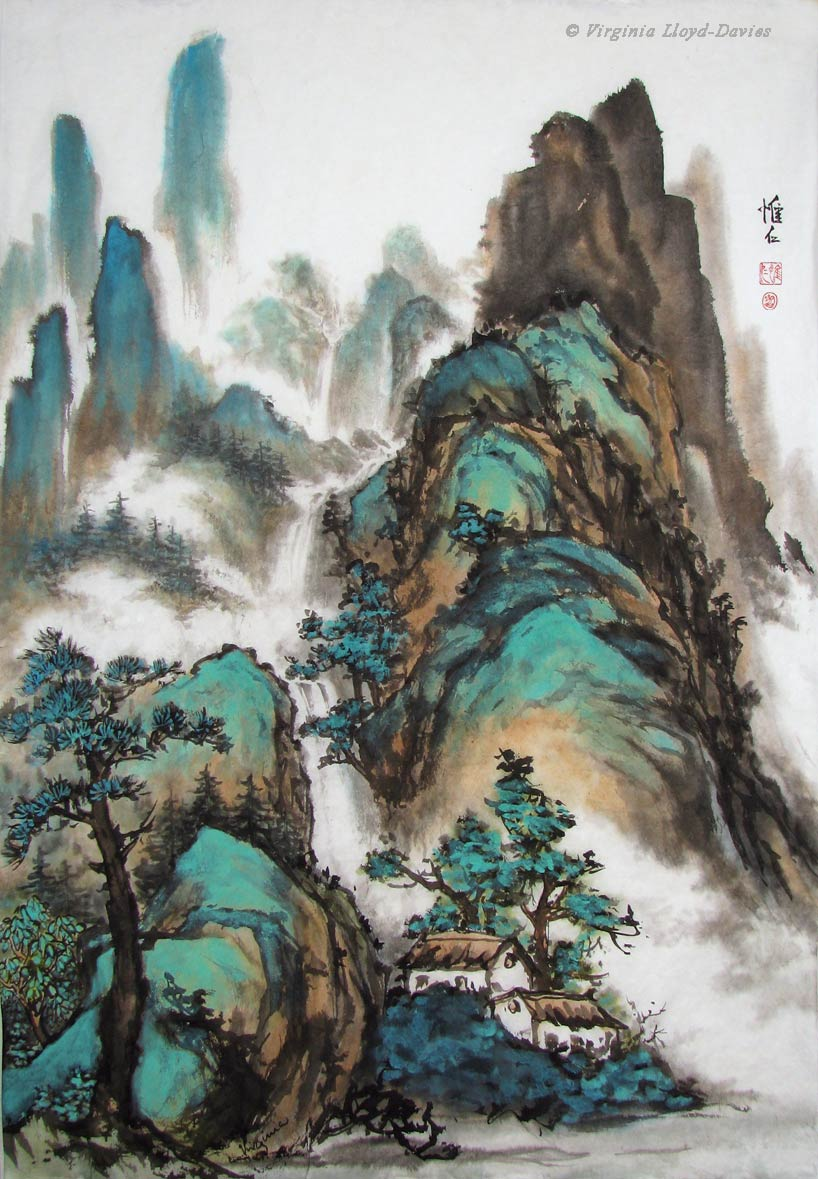 Chinese brush painting of mountains and houses
