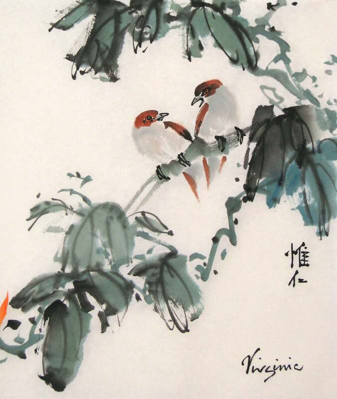 Picture of 2 brown birds and green leaves on rice paper