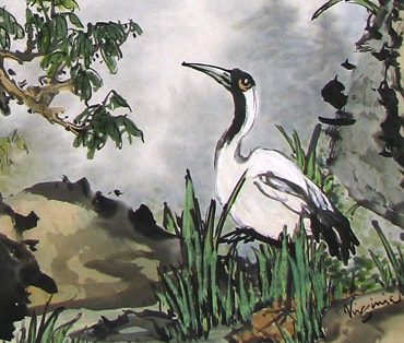Chinese Brush Painting of Crane