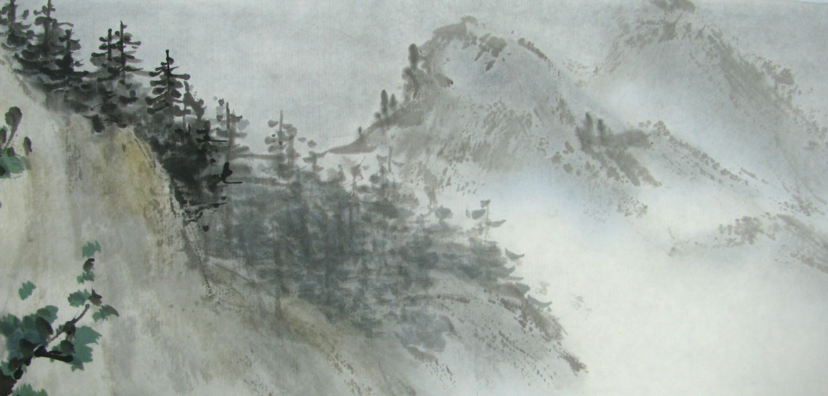 Distant Trees and Mountains with shading