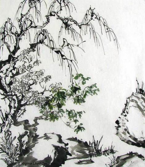 Chinese brush painting in black ink