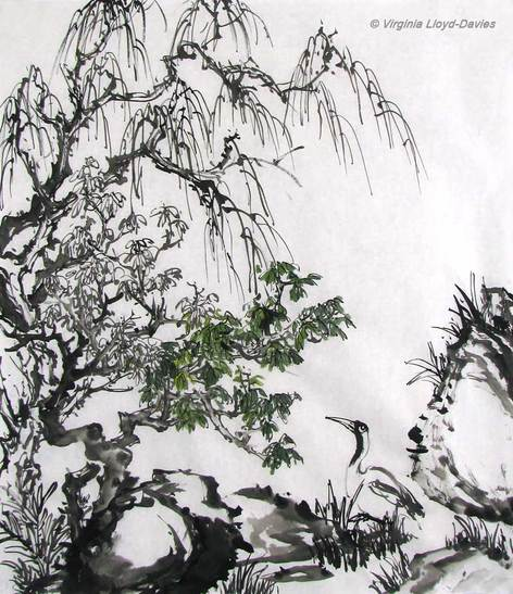 Chinese brush painting with crane
