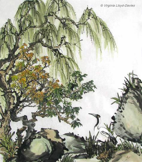 Colored Chinese Brush Painting