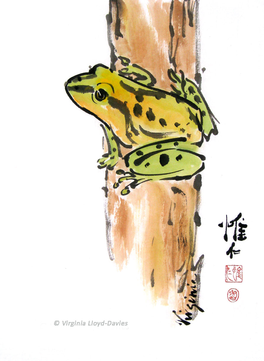 Green tree frog on brown post in watercolor Picture