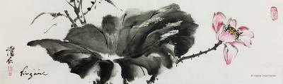 Chinese brush painting of Black lotus leaf and pink flower