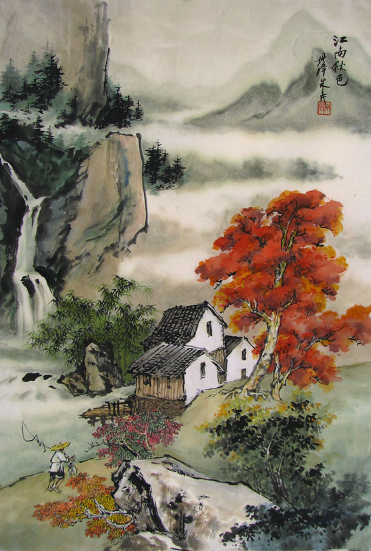 Fisherman, red trees, houses, waterfall