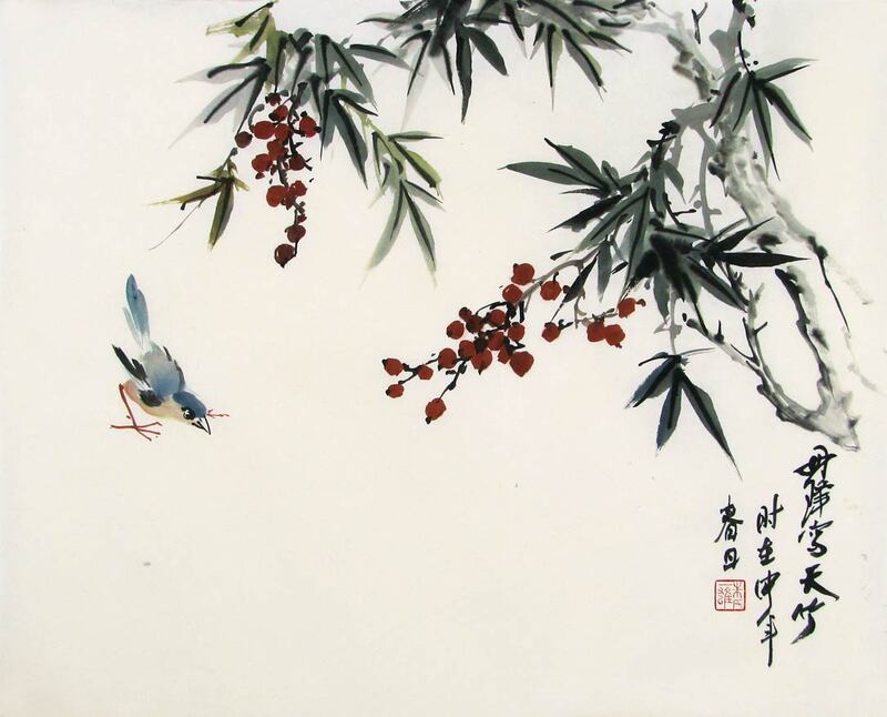 Heavenly Bamboo with red berries and blue bird