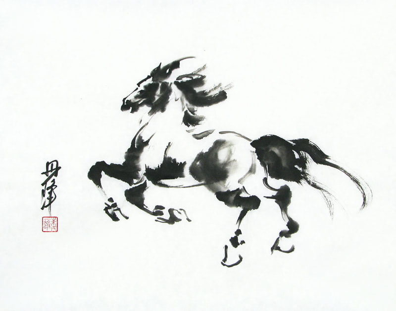 black ink painting of horse
