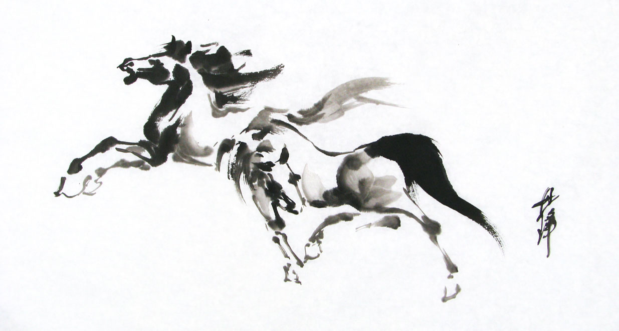 black ink painting of horses