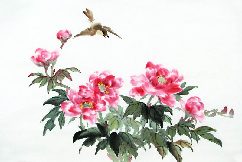 Red Peonies and Flying Brown Bird
