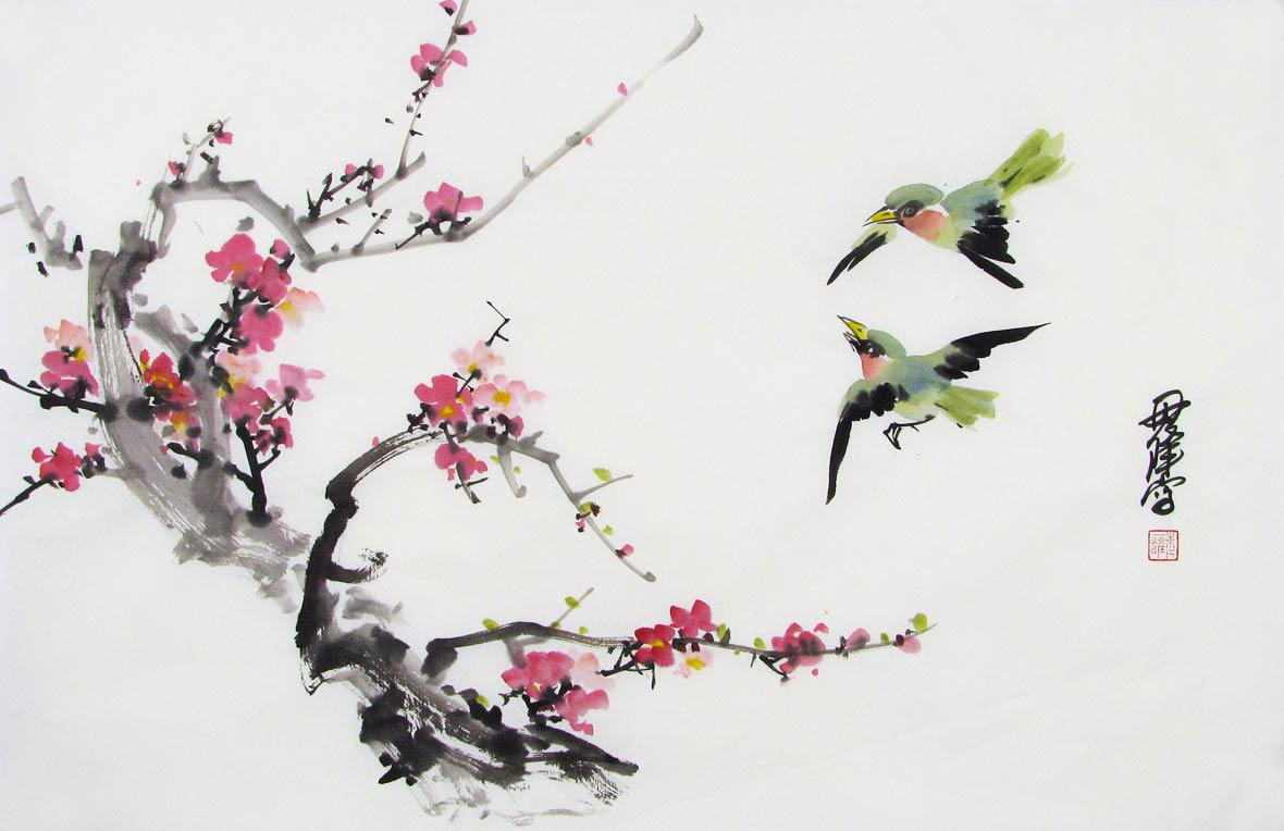 Red Plum and Green Birds