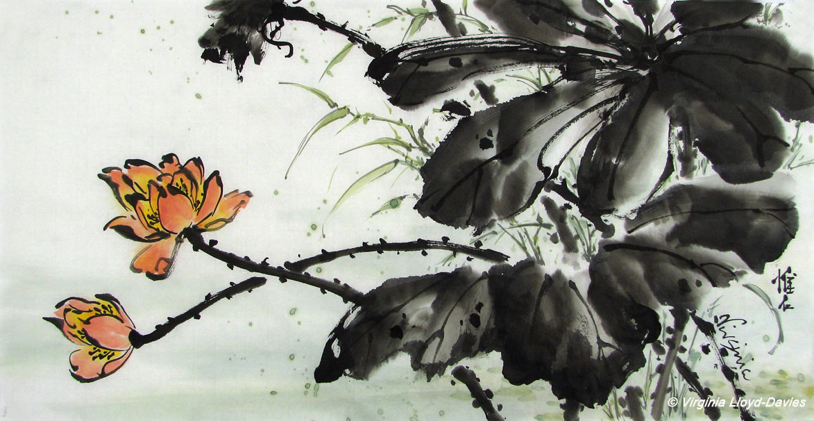 Chinese brush painting of lotus