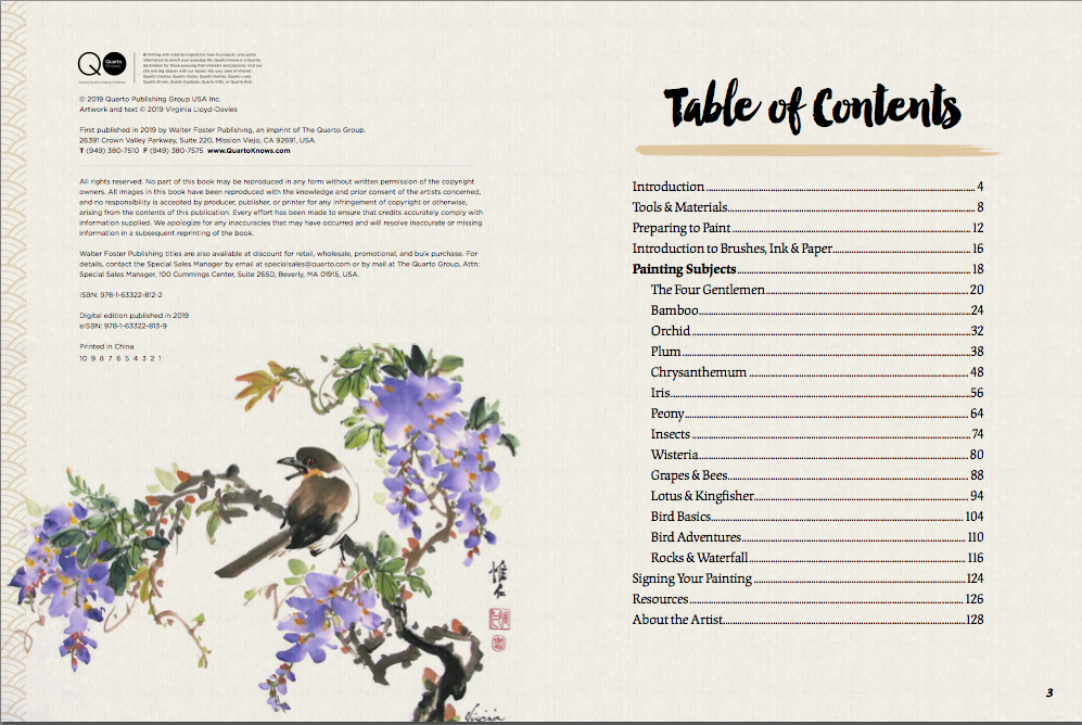 Table of Contents and painting of wisteria Picture
