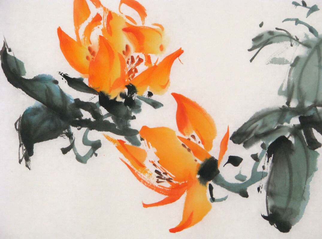 Sumi-e Painting of Orange blossoms and green leaves on rice paper