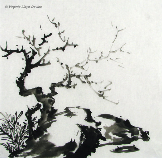 Chinese brush painting of rocks & trees