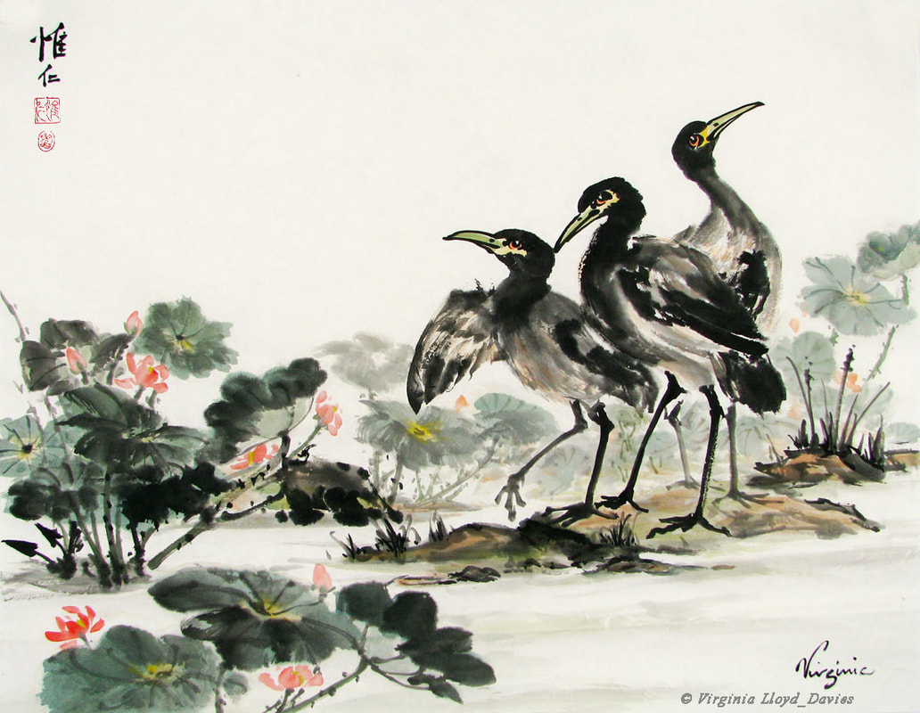 Painting of cranes and lotus