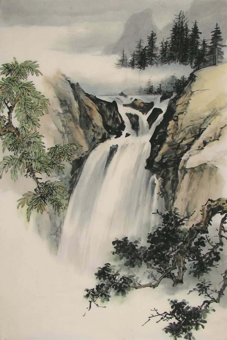 waterfall, trees, misty mountains